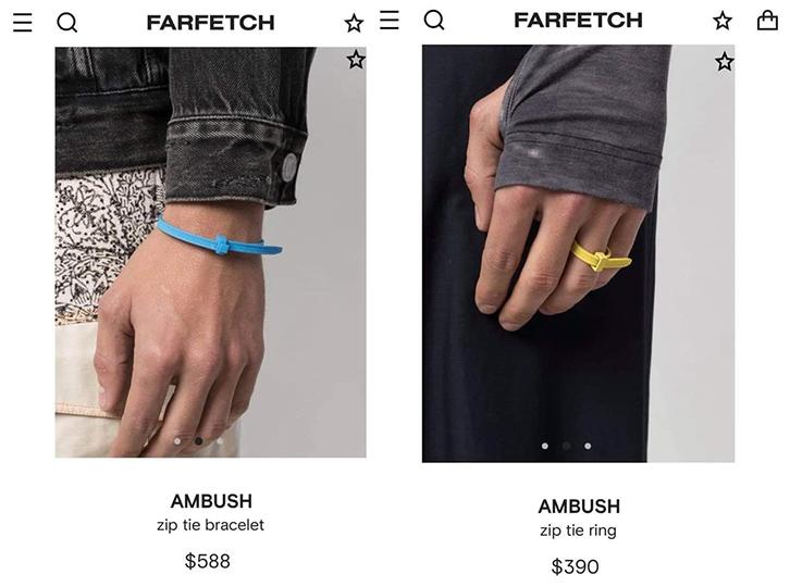 Zip tie vòng tay và nhẫn của hàng Ambush có giá cắt cổ.
