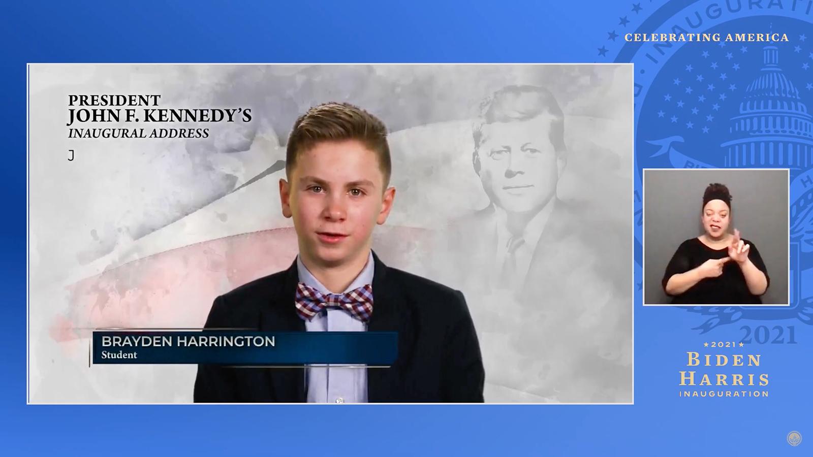 Brayden Harrington, 13 tuổi, xuất hiện trong chương trình lễ nhậm chức Tổng thống Joe Biden ngày 20/1.