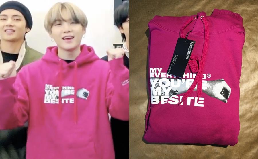 Suga mặc chiếc áo hoodie hồng vào tháng 3/2020 - món quà mà fan tặng nam idol từ 2018.