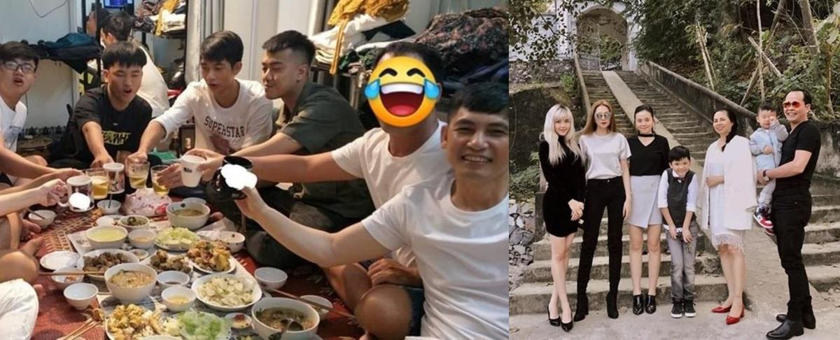Gia đình của cả hai được cho khá thân thiết. Bố của Sơn Tùng (ngoài cùng bên phải ảnh trái) ngồi cạnh một người đàn ông giấu mặt trong buổi tiệc đơn giản tại nhà riêng. Dựa vào kiểu tóc, vóc dáng, netizen cho rằng đây chính là bố của Thiều Bảo Trâm (ngoài cùng ảnh phải).