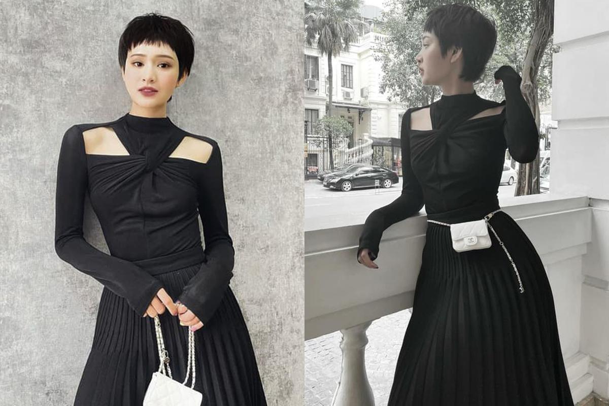 Hiền Hồ cũng bị mẫu thiết kế hay ho chinh phục. Cô khéo mix cùng túi thắt lưng màu trắng của Chanel để tạo điểm nhấn.