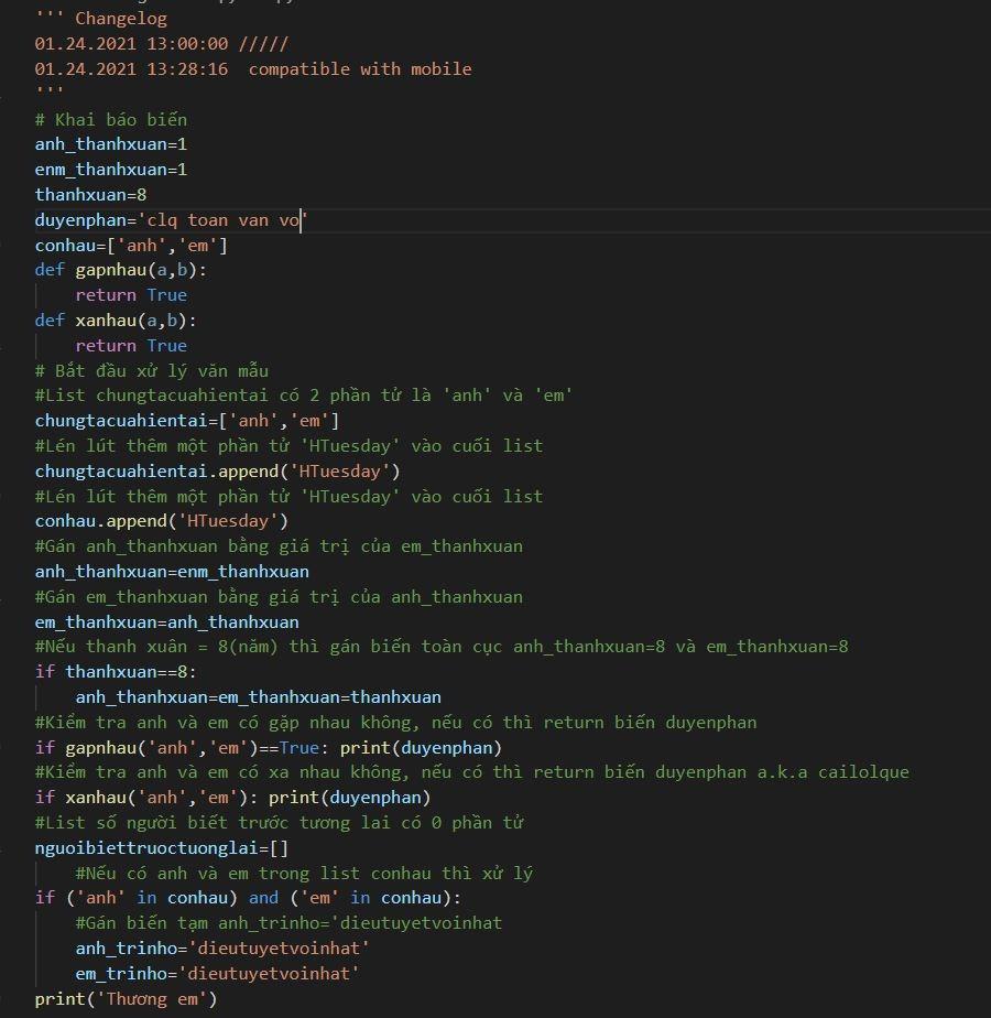 Văn mẫu dành cho dân IT. Tác giả còn caanrt hận dặn dò: Chạy hoàn hảo trên môi trường Python 3.6 trở lên, không yêu cầu cài thêm thư viện... Thương em. Nguồn: Vũ Khoa.