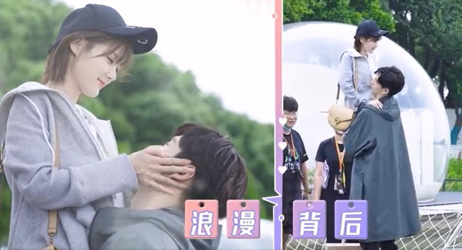 Trông cảnh ôm nhấc bổng đàn chị, Hồ Nhất Thiên gây cười khi phải nhờ đến sự trợ giúp của chiếc ghế cho đỡ mỏi.