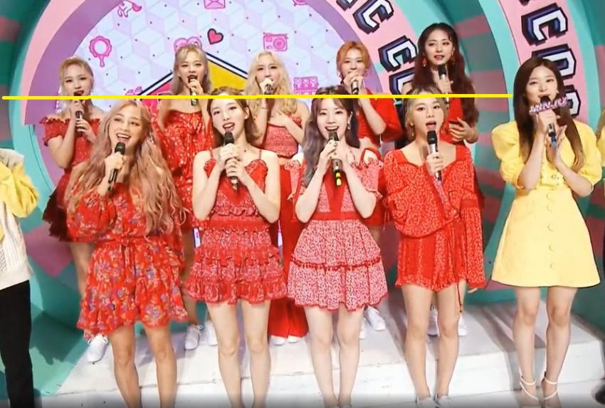 Twice bị nghi ngờ khai gian chiều cao khi lộ hình thể kém hoàn hảo trên sóng truyền hình.