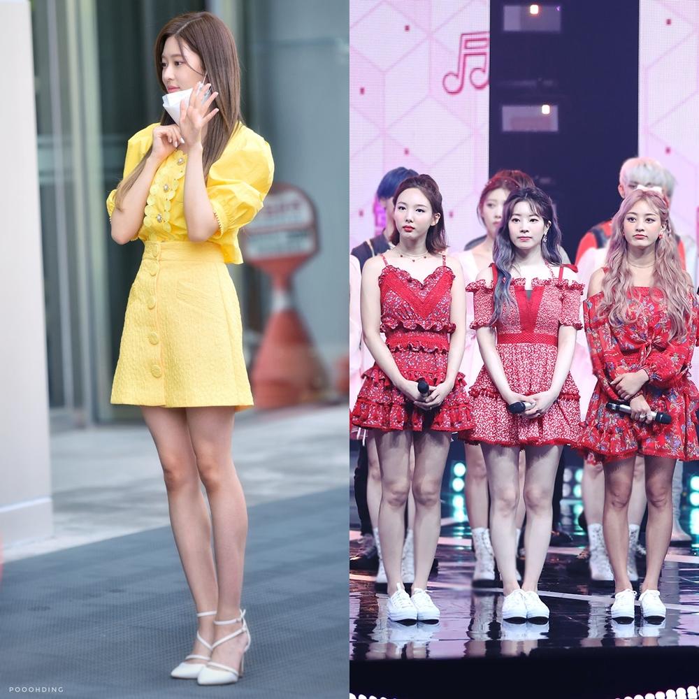 Min Joo đi giày cao gót còn Twice lại chỉ đi giày thể thao.