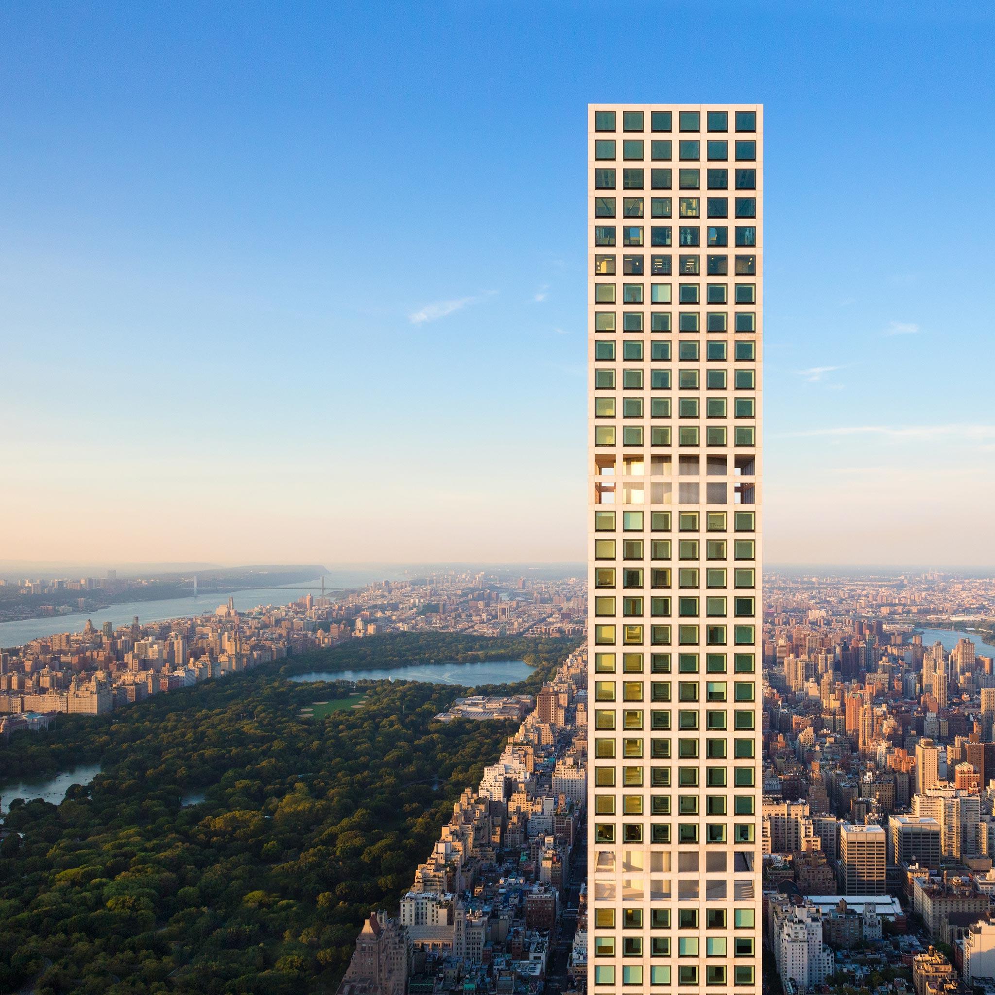 Tòa nhà 432 Park Avenue ở góc chụp gần.