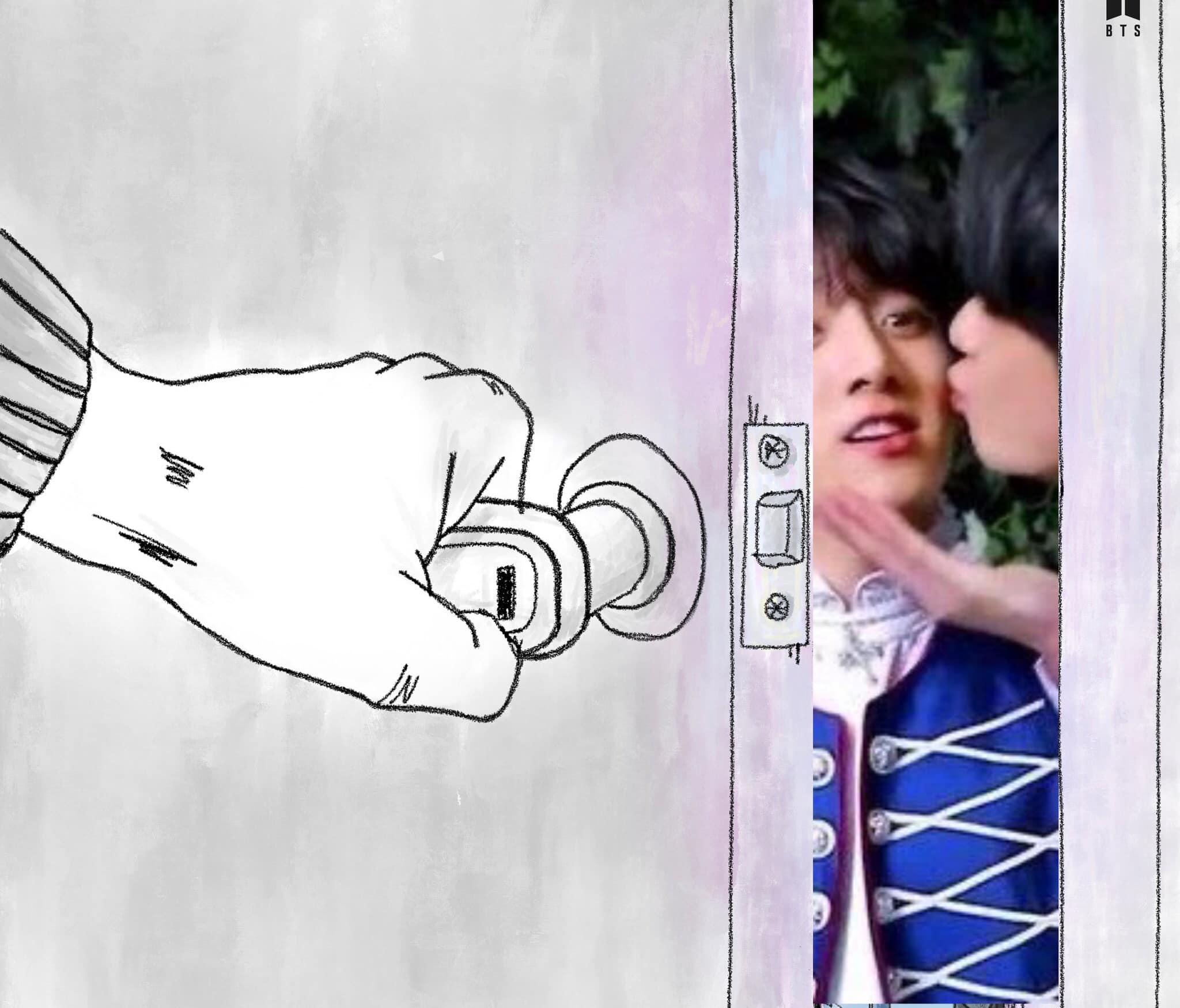 Khoảnh khắc ngọt xỉu của anh em V - Jung Kook phía sau cánh cửa khiến fan rụng tim.