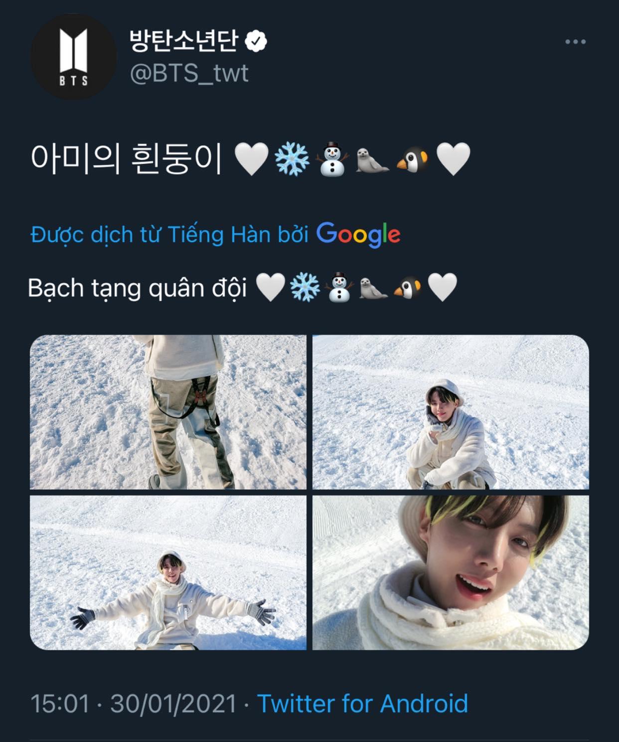 J-Hope viết caption ảnh cực kỳ đáng yêu