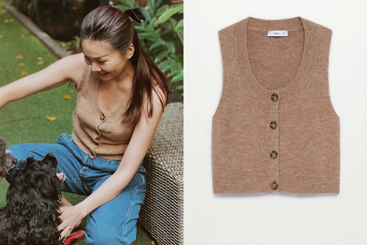 Chiếc gilet len màu be được Thanh Hằng biến thành áo không tay hiện đại nhưng vẫn thanh lịch. Giá của món đồ này là 900k.