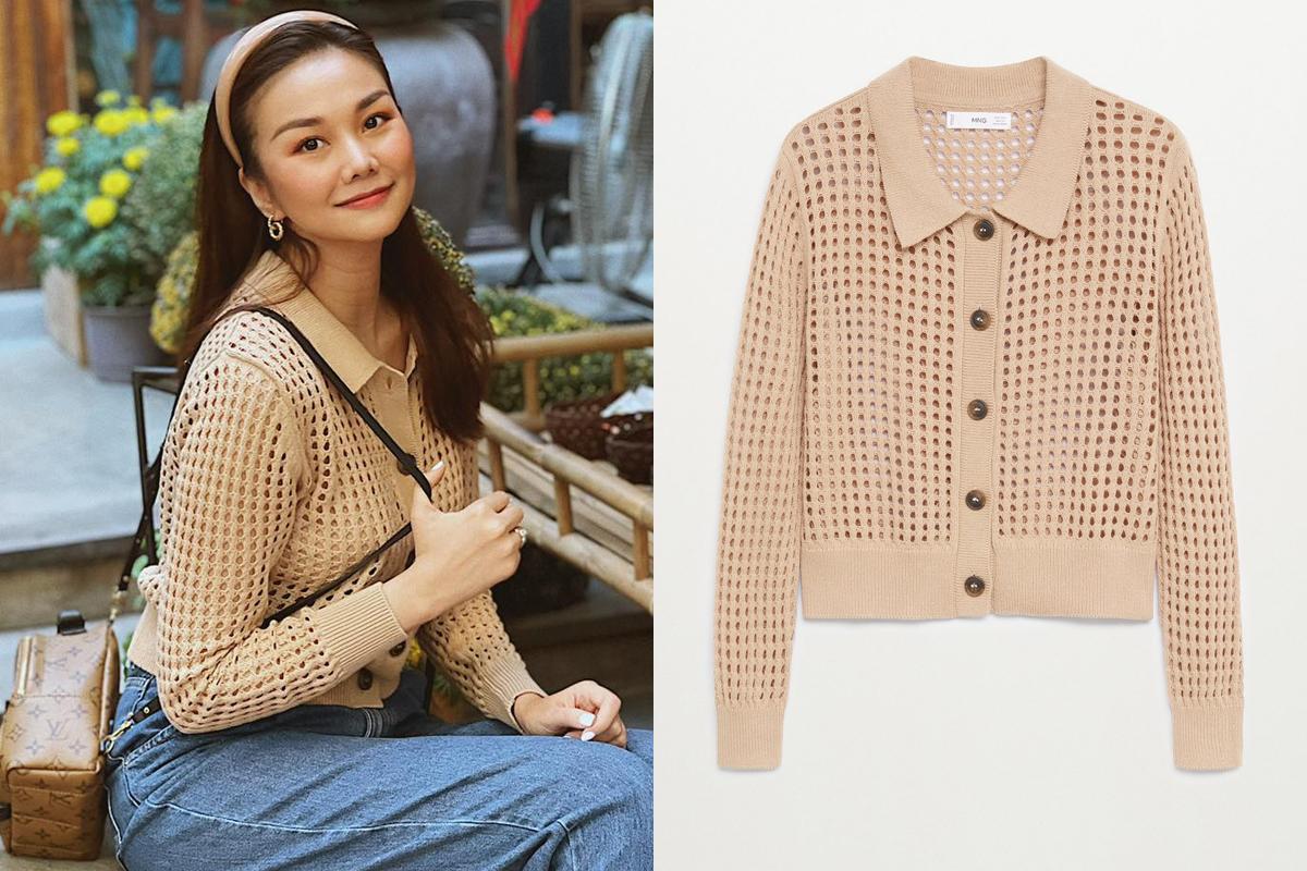 Áo khoác Tonia với chất liệu len móc độc đáo là lựa chọn của Thanh Hằng khi ra phố những ngày giao mùa se lạnh. Bạn cũng có thể sở hữu một chiếc cardigan giống hệt người đẹp với mức giá 1,5 triệu đồng.