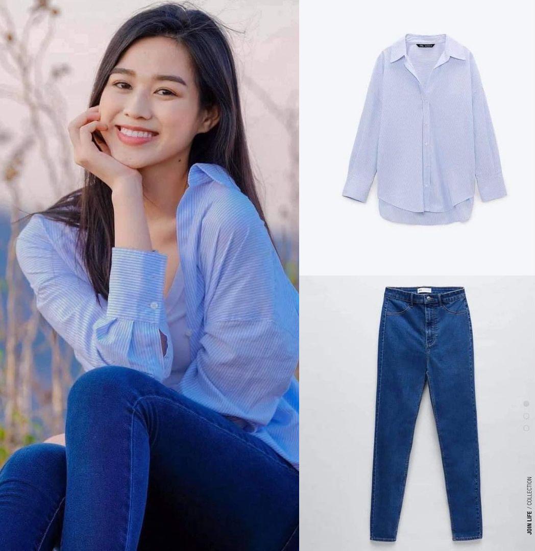 Hoa hậu Đỗ Thị Hà chuộng phong cách đơn giản nên thích diện những món đồ thoải mái. Muốn trông đẹp như hoa hậu, bạn có thể tăm tia chiếc sơ mi sọc xanh giá 800k đi kèm quần skinny jeans 700k.
