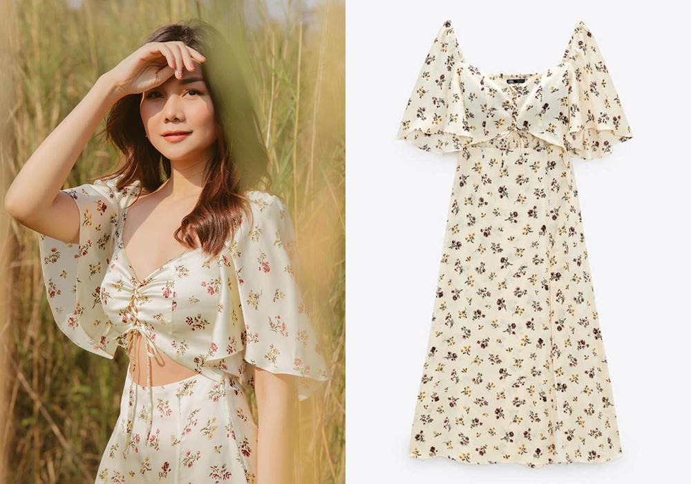 Đầm hoa cũng là kiểu đồ được Thanh Hằng đặc biệt ưa chuộng trong mùa hè. Nếu đang muốn sắm một thiết kế dịu mắt, thích hợp với những chuyến đi biển, du lịch, chiếc váy cut-out giá 1,7 triệu đồng là gợi ý lý tưởng.