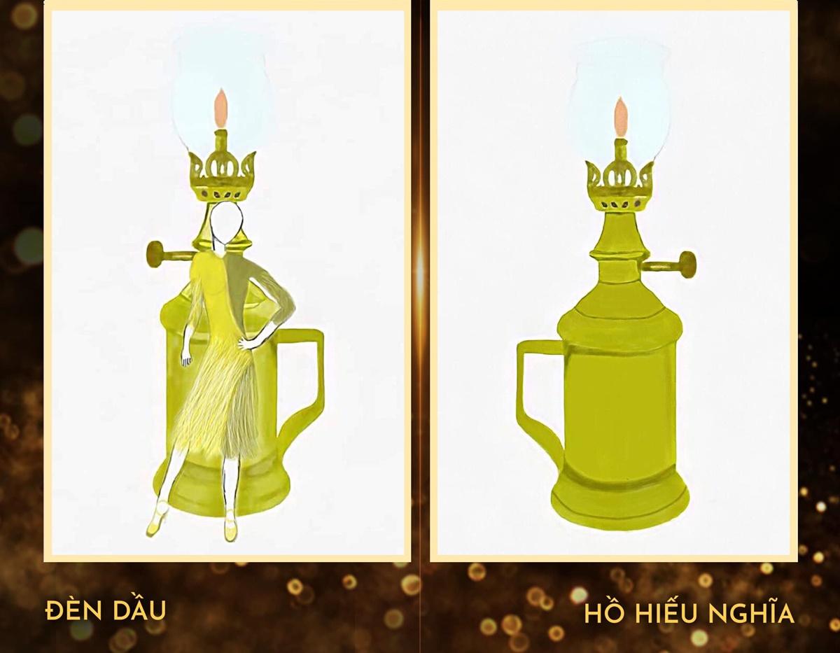 Với Đèn dầu, NTK Hồ Hiếu Nghĩa cho biết đây là một vật dụng giữ lửa, gắn liền với đời sống sinh hoạt của con người và cũng là biểu hiện cho những giá trị văn hóa độc đáo của dân tộc.