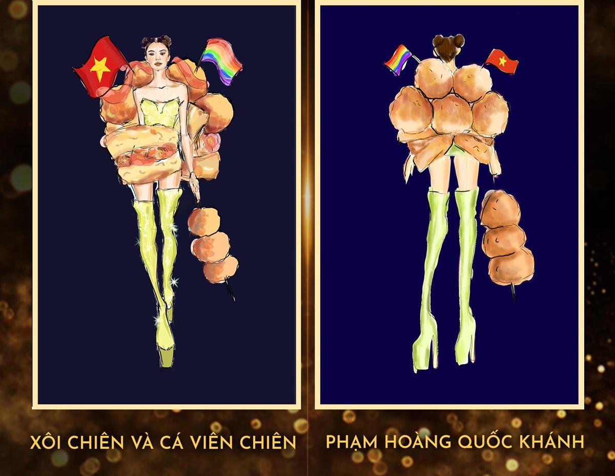 Xôi chiên và cá viên chiên được lấy ý tưởng từ món ăn vặt quen thuộc trên đường phố Việt.