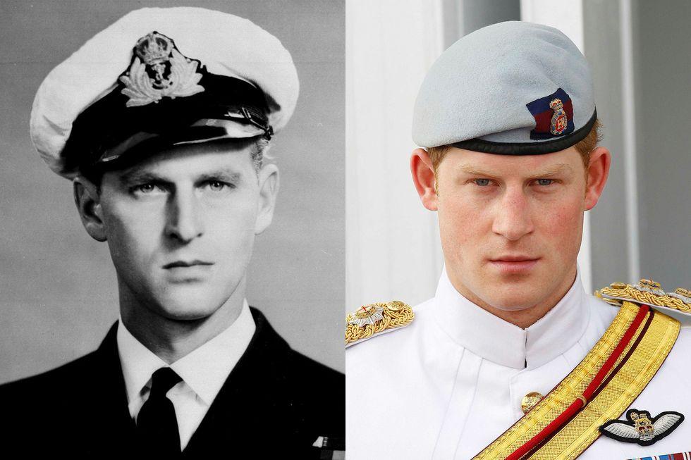 Công tước xứ Edinburgh - sĩ quan Hải quân Hoàng gia vào tháng 12/1946; Hoàng tử Harry vào tháng 3/2012, tại Nassau.