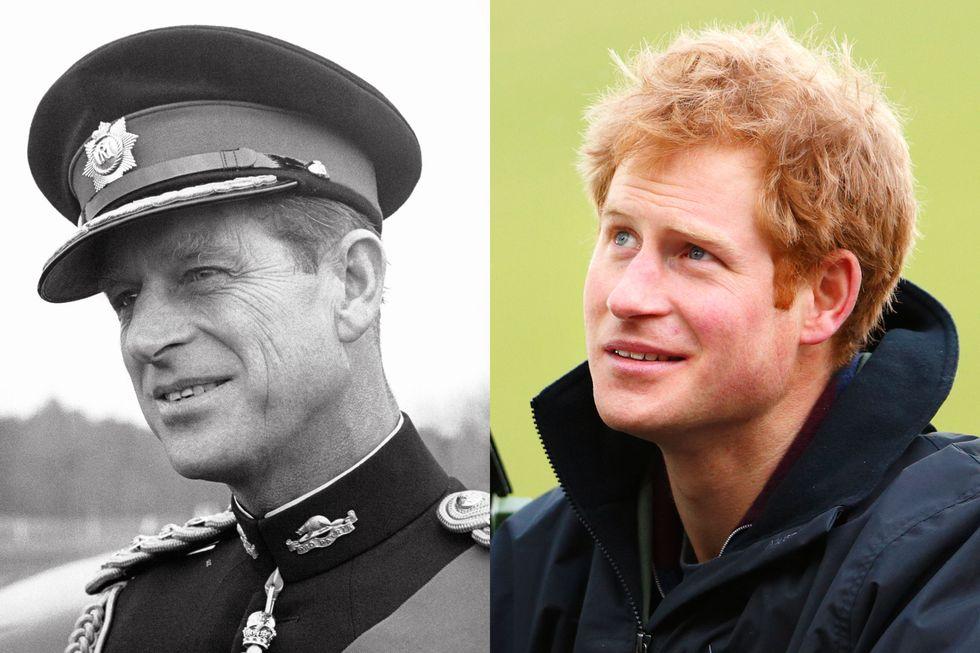 Công tước xứ Edinburgh vào khoảng năm 1960 trông giống hệt cháu trai Hoàng tử Harry hồi tháng 2/2014.