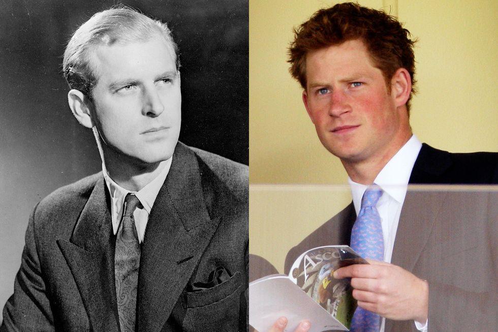 Harry được cho là có mối quan hệ khá thân thiết với Hoàng thân Philip do cả hai người đều từng phục vụ trong quân đội. Trong ảnh, một bức chân dung của Hoàng thân Philip được chụp vào tháng 11/1947; Hoàng tử Harry tại Trường đua ngựa Ascot, tháng 7/2011.