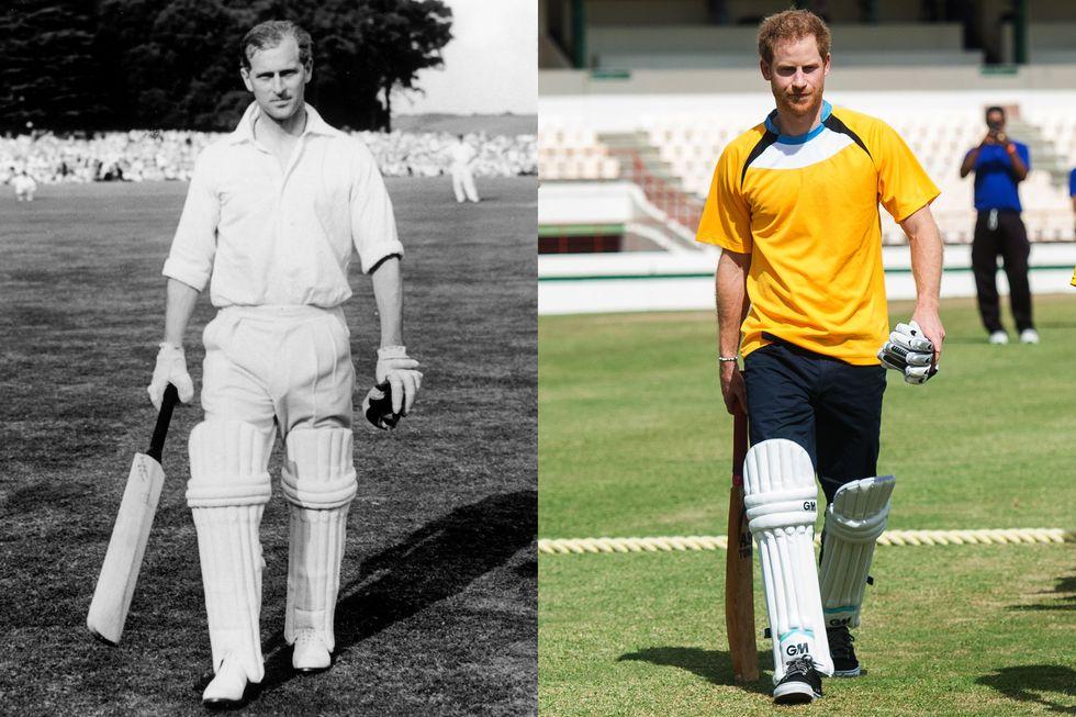 Hoàng thân Philip sau trận đấu cricket nổi tiếng tại Arundel, tháng 8/1953; Hoàng tử Harry trong một trận đấu cricket khi trong chuyến thăm chính thức ở Castries, Saint Lucia, tháng 11/2016.