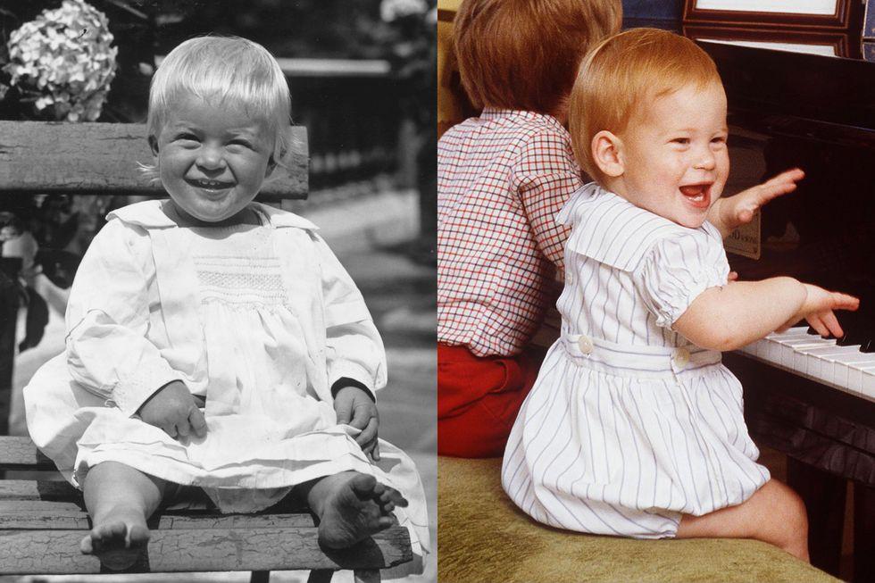 Hoàng tử Philip của Hy Lạp, khi mới biết đi, tháng 7/1922 và Hoàng tử Harry bên cạnh piano tại Cung điện Kensington hồi tháng 10/1985.