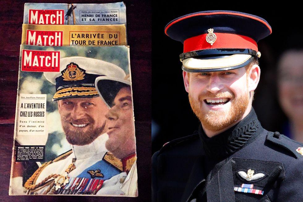 Tờ Sun hôm nay đăng lại một bức ảnh cũ của Hoàng thân Philip, người qua đời sáng 9/4, trên trang bìa tạp chí Paris Match hồi năm 1957, khi ông 36 tuổi. Trong ảnh Công tước xứ Ediburgh mặc bộ quân phục Tropical Dress of the Blues and Royals và để râu quai nón. Nụ cười của ông khiến nhiều người liên tưởng đến khoảnh khắc Harry đến nhà nguyện St George hồi tháng 5/2018. Từ nước da, màu mắt, đến bộ râu cùng nụ cười của họ được nhận xét trông giống hệt nhau.