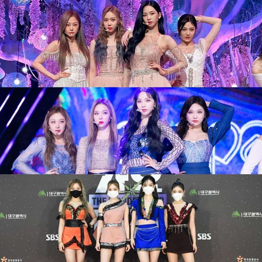 So sánh với Aespa, girlgroup tân binh debut cùng thời điểm, netizen cho rằng StayC may mắn có đội ngũ stylist có tâm hơn. Những bộ đồ diễn của Aespa thường bị chê quê, sến, rườm rà và quá ngắn.