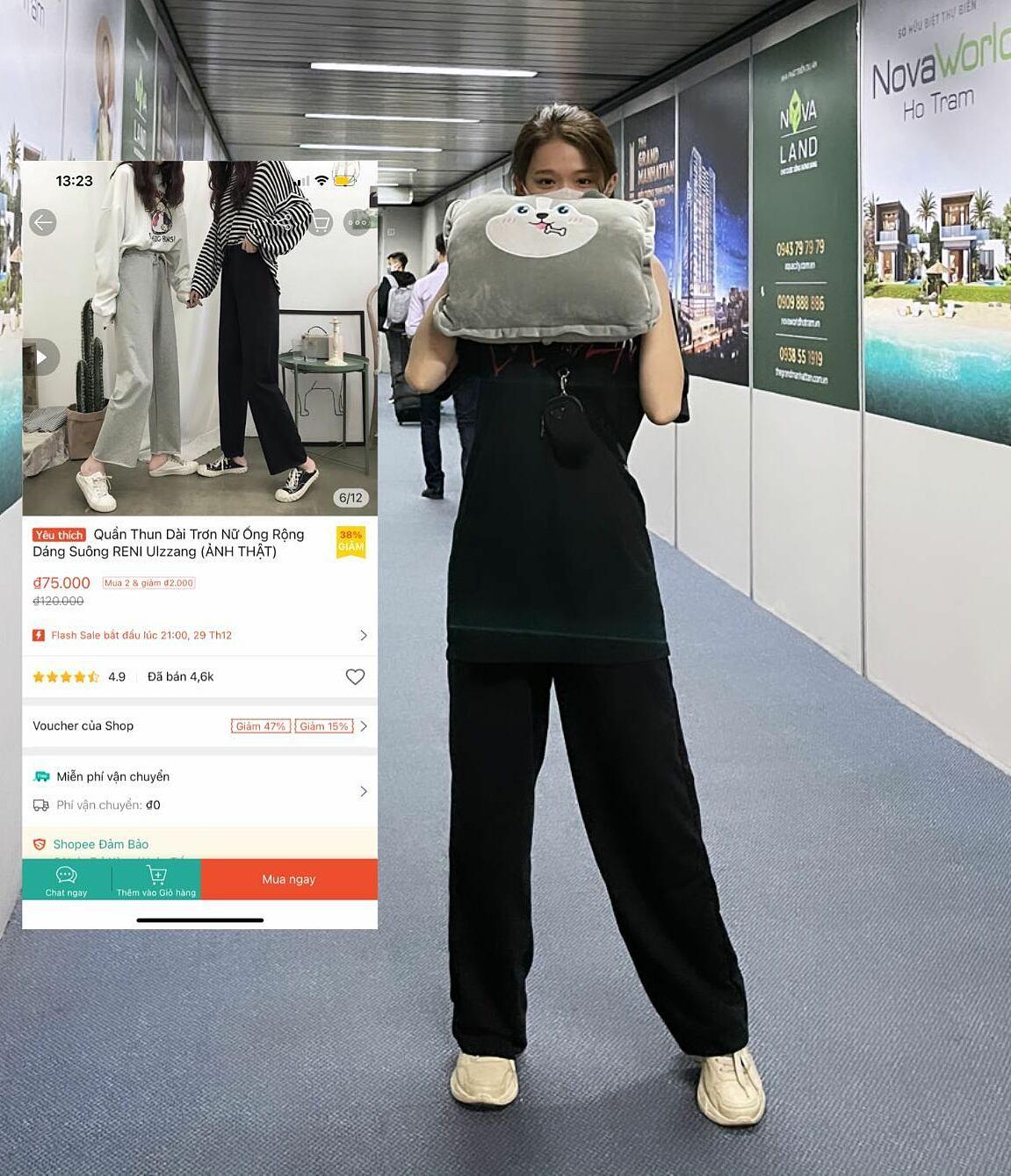 Không cần tốn quá nhiều tiền để sở hữu một chiếc quần suông đen tôn dáng, hack chân. Linh Ka tiết lộ cô nàng rất ưng ý với chiếc quần có giá vỏn vẹn 75k này.
