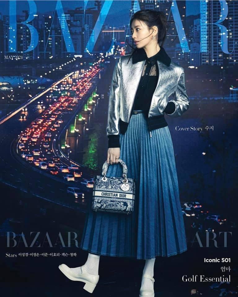 Suzy lại mặc đồ thuộc BST mùa Thu 2021 Ready To Wear trên bìa Harper's BAZAAR Hàn số tháng 5.