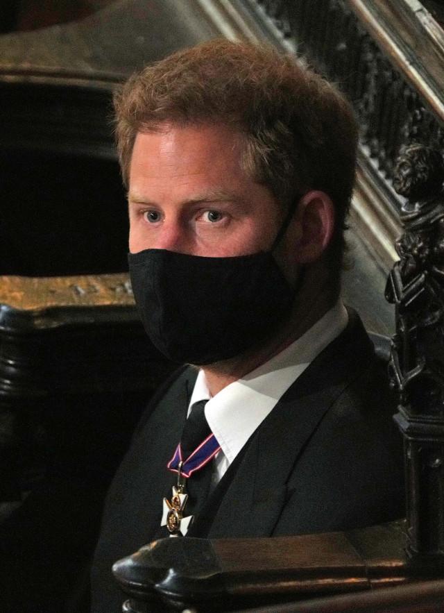 Harry đượm buồn trong đám tang ông nội, Hoàng thân Philip. Ảnh: Getty.