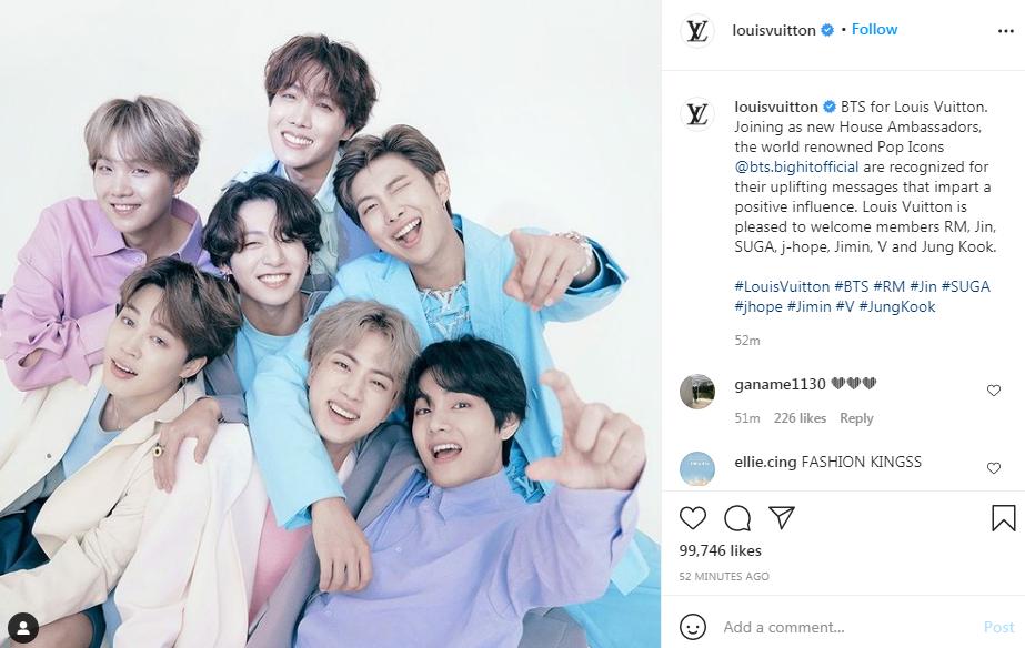 Thông tin về chức danh của BTS được Louis Vuitton thông báo trên các trang chính thức.