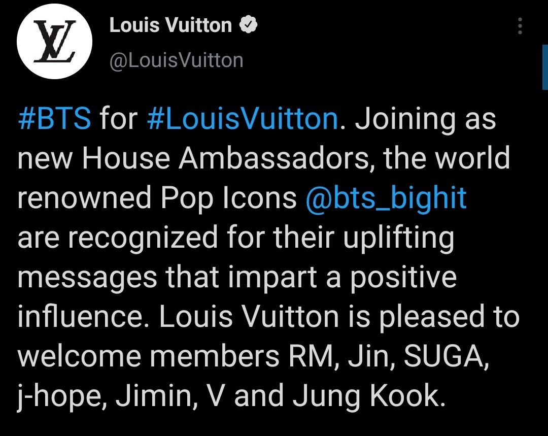 Louis Vuitton, một thương hiệu thời trang cao cấp hàng đầu, mời BTS đội hình đủ thành viên làm đại sứ.