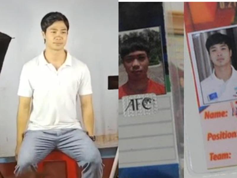 Công Phượng chụp ảnh thẻ mới (ảnh trái) và ảnh thẻ cũ.