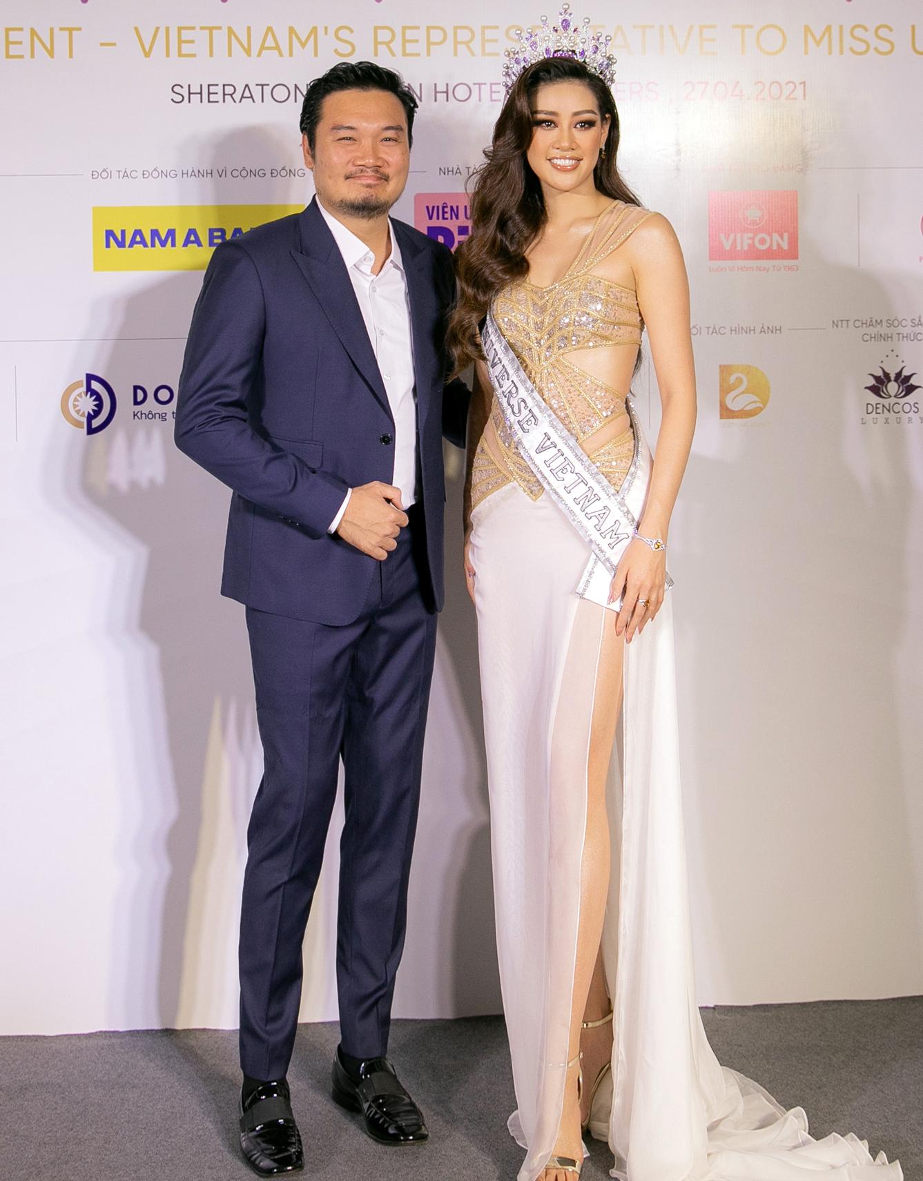 Ông Nguyễn Trung Hùng và Hoa hậu Khánh Vân.