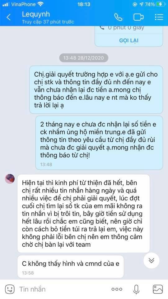 Tin nhắn giữa TH và quản lý của Thủy Tiên được công khai.