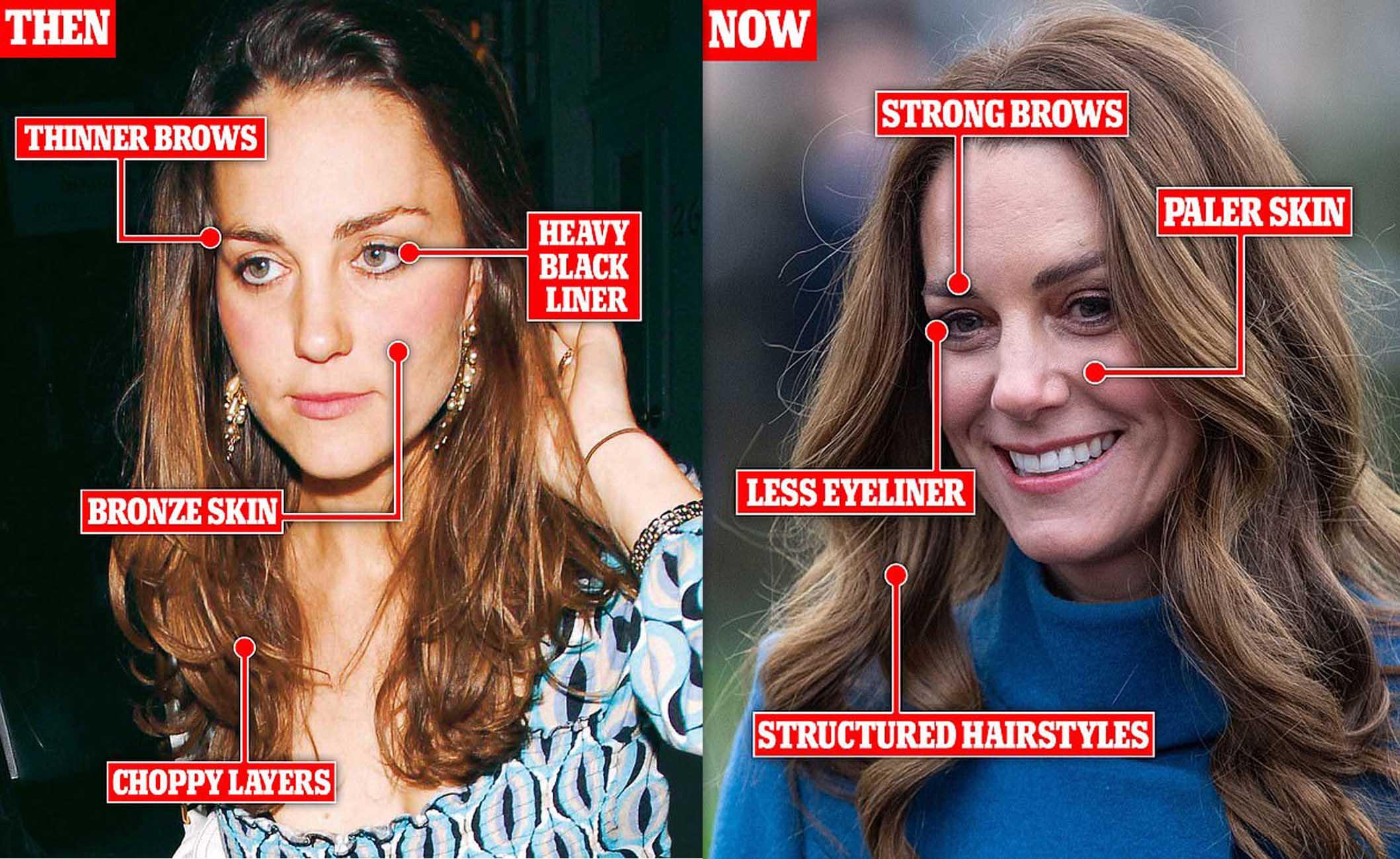 Chuyên gia trang điểm chỉ ra sự thay đổi trong phong cách của Kate trước và sau khi bước chân vào Hoàng gia.