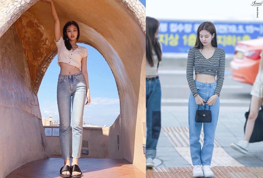 Jennie thường chọn quần jeans cạp cao phối với áo cropop. Nhờ vòng eo nhỏ, vóc dáng của Jennie trông mảnh mai và có đường cong đẹp mắt.