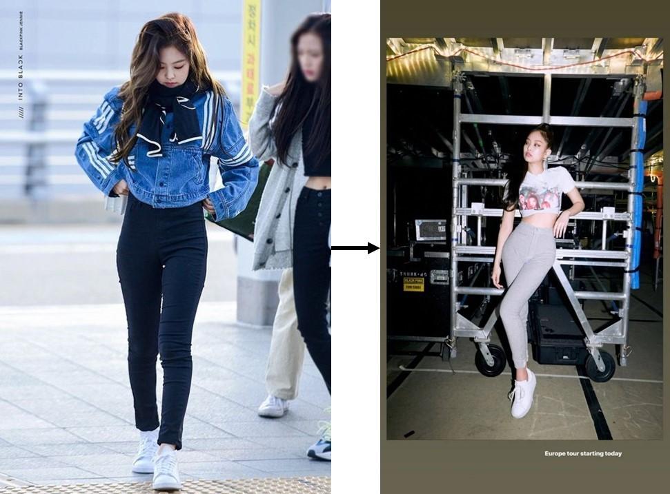 Jennie trước và sau khi có miếng độn hông.