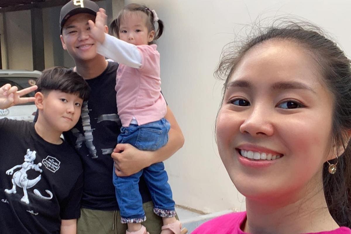 Lê Phương cùng Trung Kiên đưa các con về thăm ông bà ở quê.