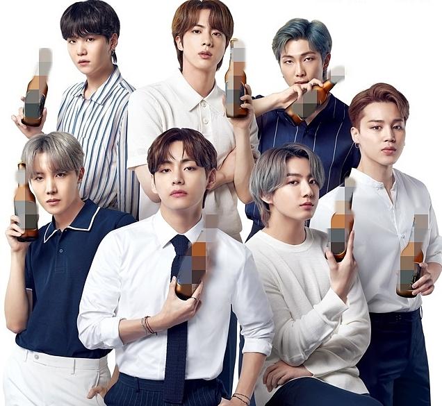V cũng được xếp ngồi ở vị trí trung tâm trong poster quảng cáo bia.