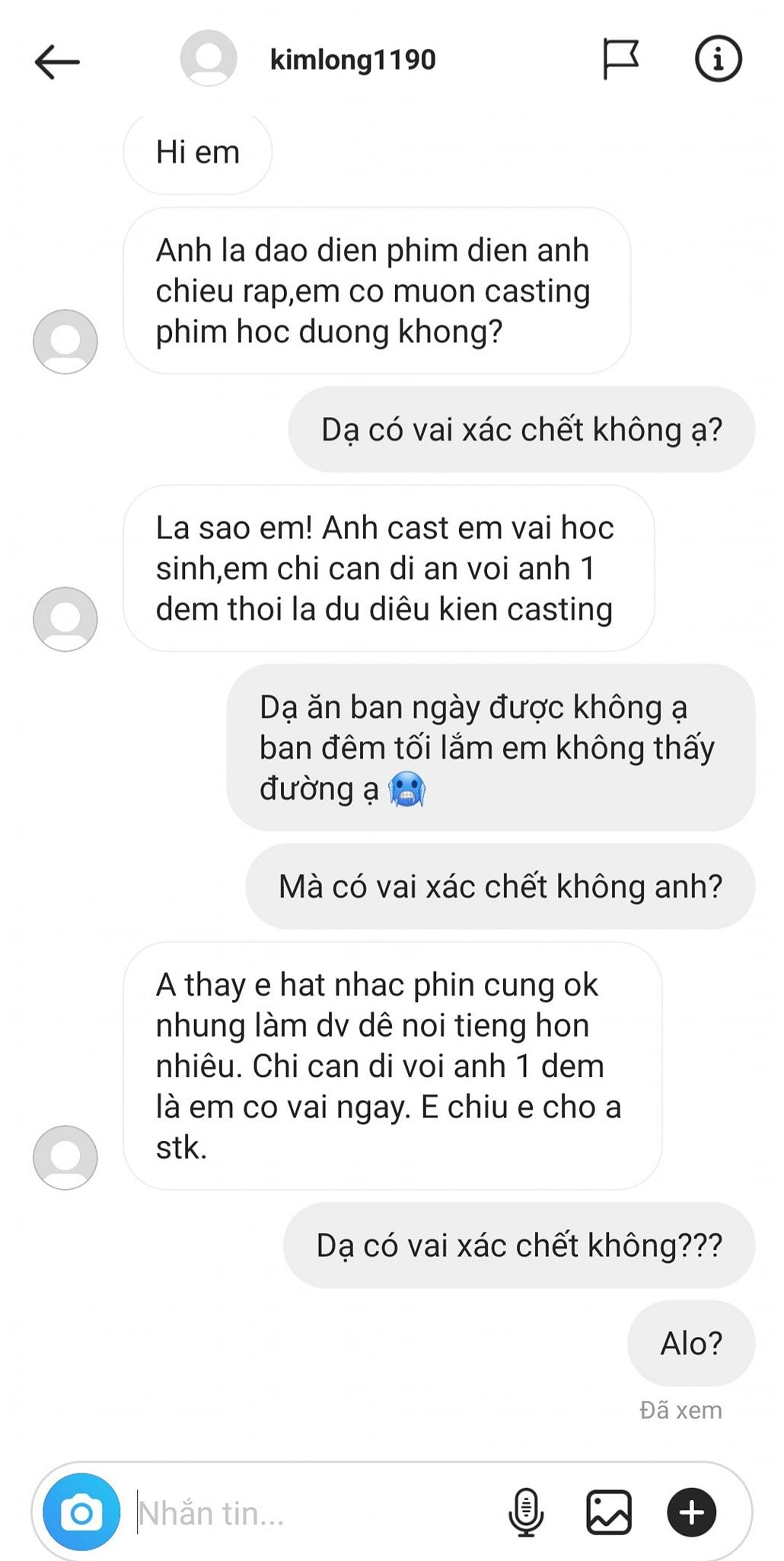 Orange chia sẻ tin nhắn gạ gẫm của một người tự xưng đạo diễn trên Facebook.