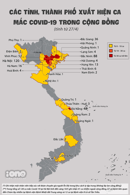 Bản đồ lây nhiễm cộng đồng, tính đến 7h sáng 10/5.
