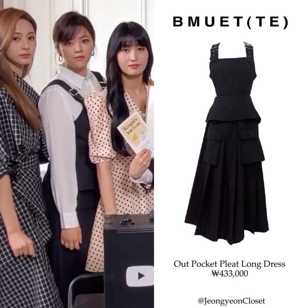 Jeong Yeon mặc somi trắng mix cùng váy hai dây xếp ly dáng dài.