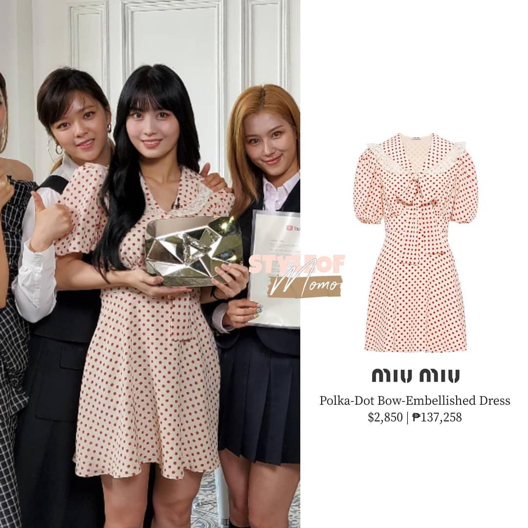 Momo dịu dàng và nữ tính trong thiết kế váy chấm bi của Miu Miu.