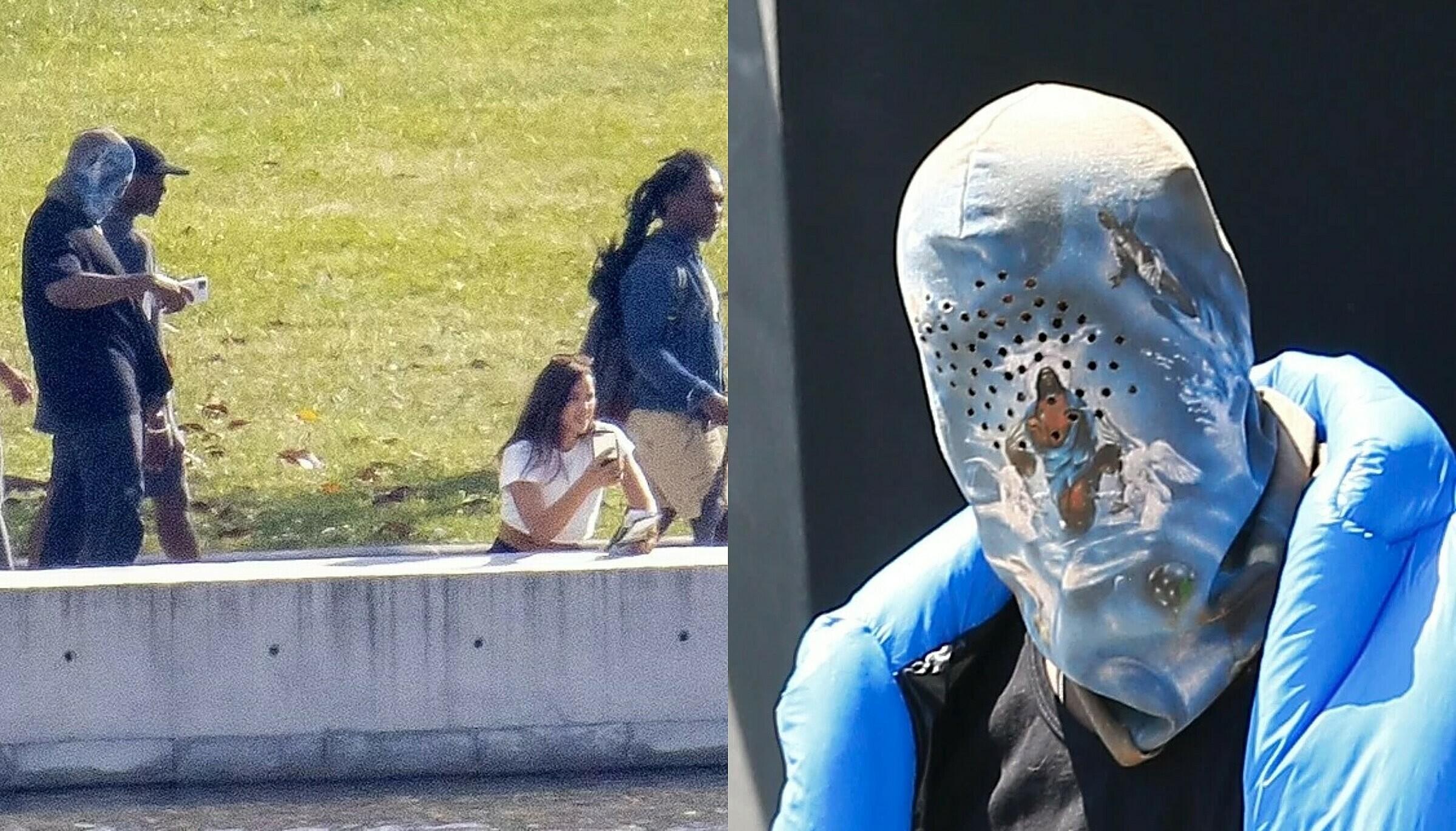Kanye West đội khăn trùm đầu, đứng chụp ảnh Irina. Gần đây, Kanye chuộng phong cách bọc đầu kín bưng.