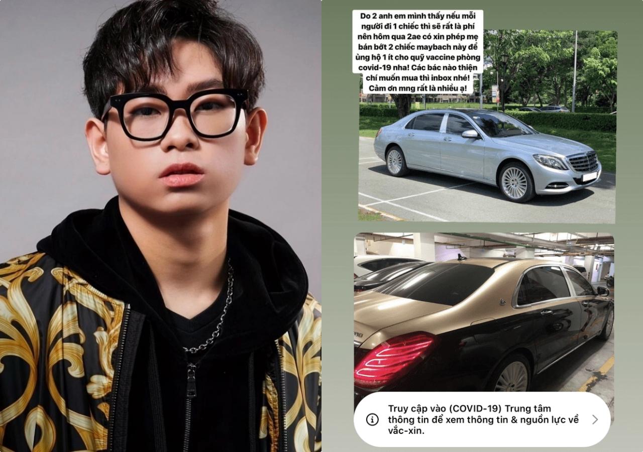 Ngày 10/6, mạng xã hội xôn xao về một rich kid đăng mạng xã hội rao bán hai chiếc xế hộp Maybach. Cậu bạn cho hay đã xin mẹ bán hai chiếc xe này để lấy tiền ủng hộ Quỹ vaccine Covid-19.