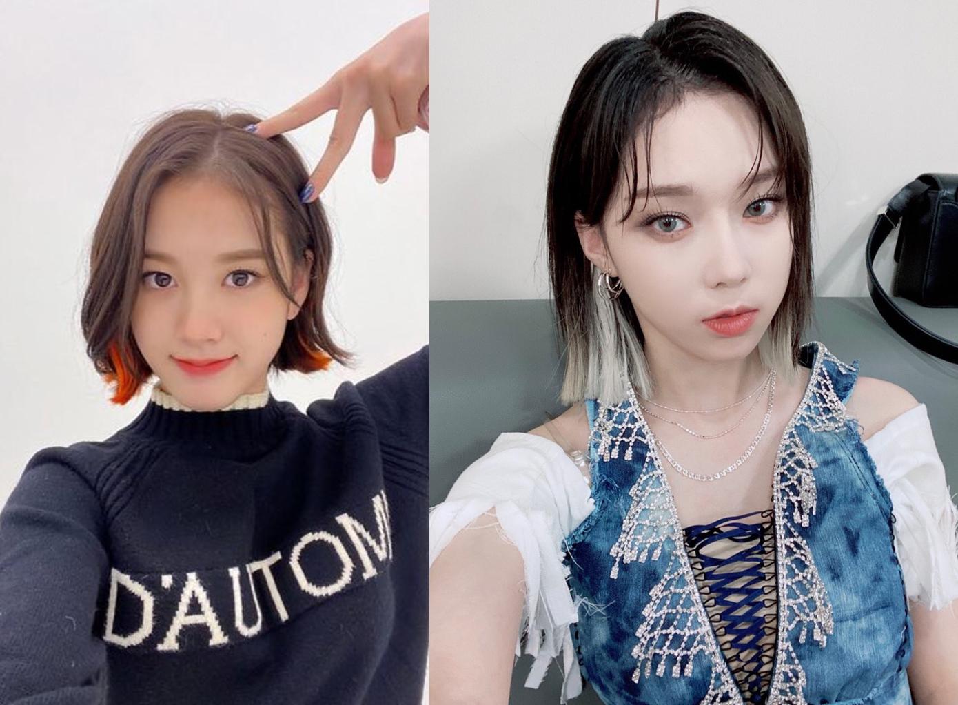 Gẩy light tóc là style quen thuộc và chưa bao giờ hết hot. Hàng loạt idol đình đám tham gia trào lưu này. Các cô gái cũng biến tấu, chỉ gẩy light sáng ở phần đuôi tóc tạo điểm nhấn độc đáo như J (StayC) và Winter (Aespa).