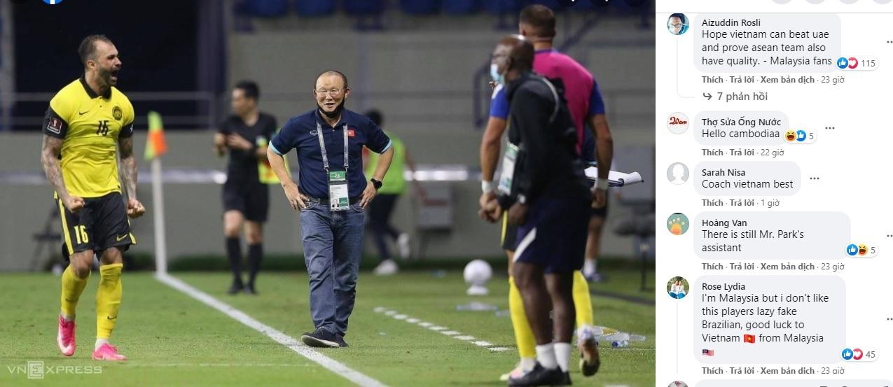 Group ASEANFootballNews đăng tải hình ảnh của VnExpress cùng thông báo việc HLV Park không được phép tiếp xúc với đội trong trận đấu với UAE. Dưới bài đăng, rất nhiều cổ động viên từ Malaysia, Thái Lan, Indonesia, Myanmar... lên tiếng kêu gọi: Việt Nam hãy đánh bại UAE.