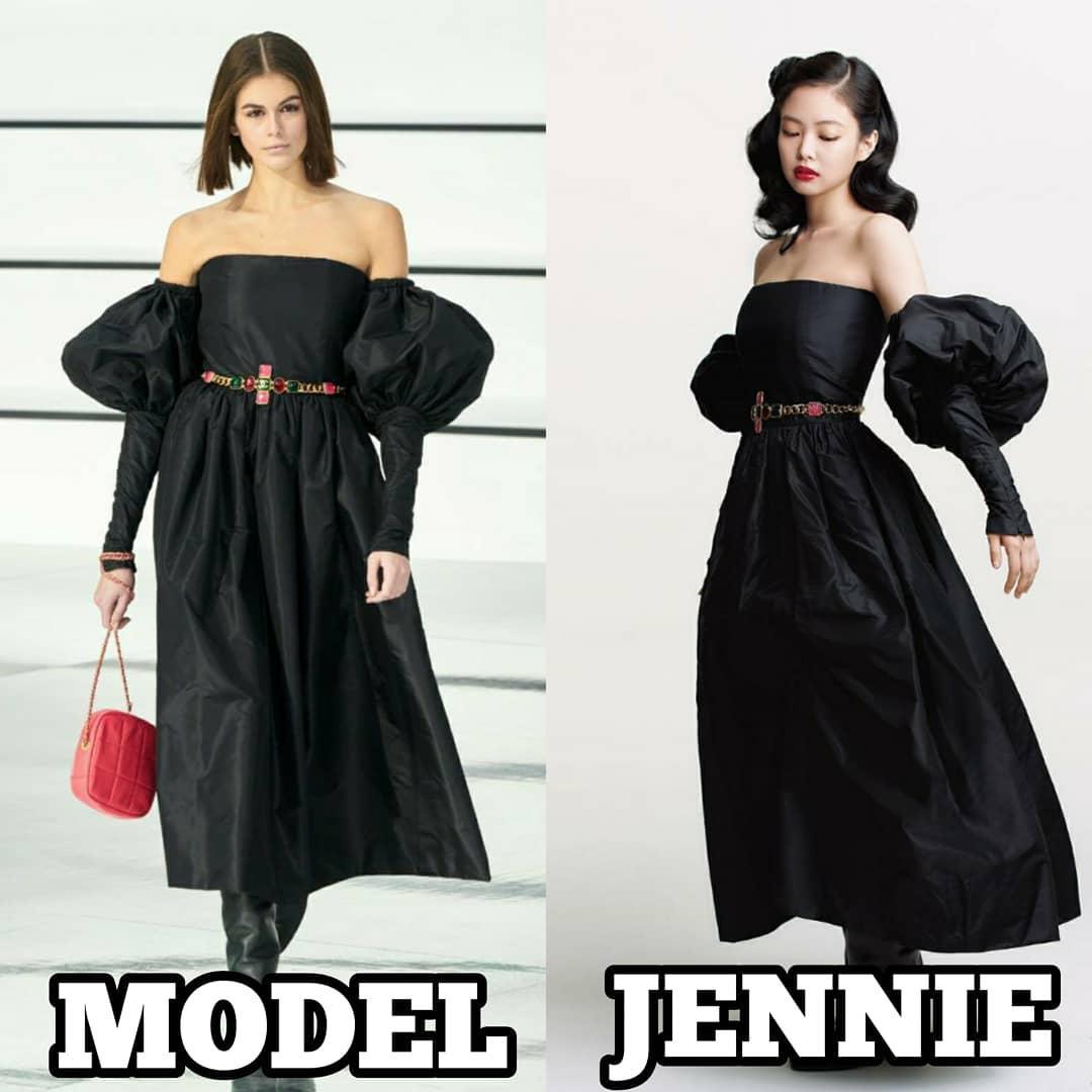 Jennie là thành viên đặc biệt có nhiều phen đụng độ ăn đứt người mẫu hãng. Nữ idol sở hữu vẻ đẹp vừa ngọt ngào vừa bướng bỉnh, vừa gợi cảm vừa cổ điển, vì thế rất hợp với các nhà mốt cao cấp.