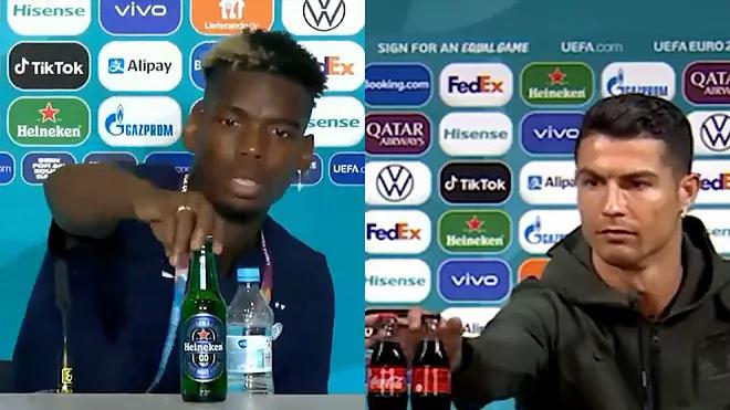 Hai ngôi sao Ronaldo và Pogba phủ sóng khắp truyền thông thế giới với hành động gạt sản phẩm của nhà tài trợ Euro 2020.