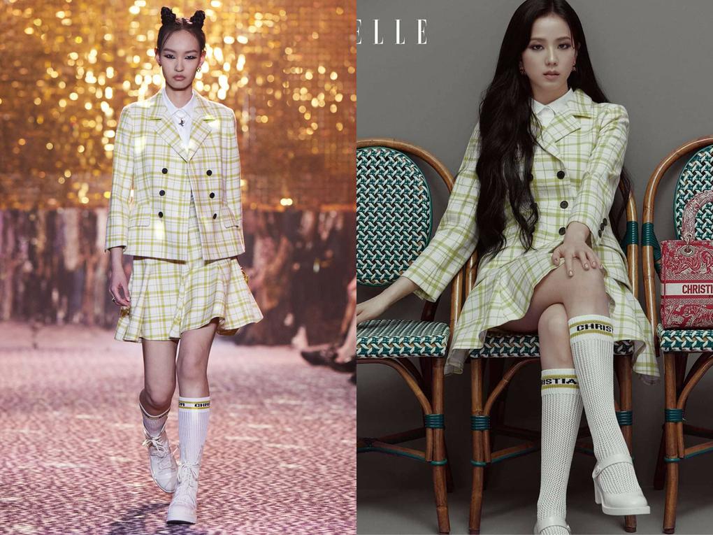 Trước đó, Ji Soo cũng từng diện nhiều trang phục khác trong bộ sưu tập để chụp hình tạp chí. So với người mẫu, Ji Soo thể hiện là một nàng thơ đích thực của Dior khi diện nhiều trang phục còn lấn át.