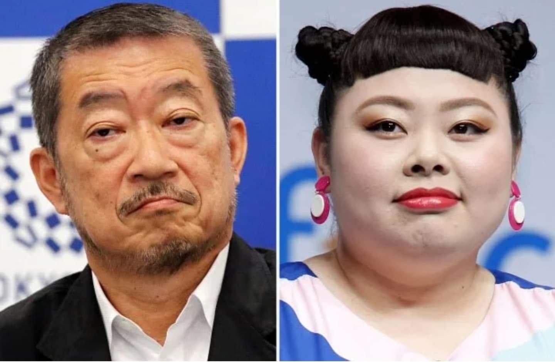 Ông Hiroshi Sasaki (trái) phải từ chức sau khi gọi nghệ sĩ hài Naomi Watanabe (phải) là con lợn của Olympic.